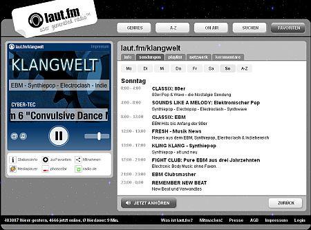 klangwelt screenshot auf laut.fm